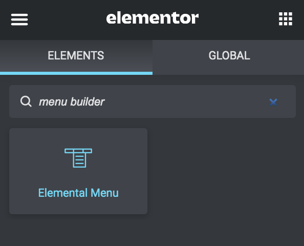 searching for elementor mega menu widget
